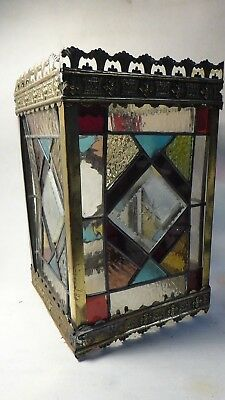 Antique Victorian Leadlight Stained Glass Square Pub Hall Light Shade Brass