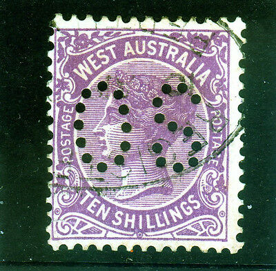 """West Aust. 10/- Perf """"OS""""  Very fine used SG127 {288}"""
