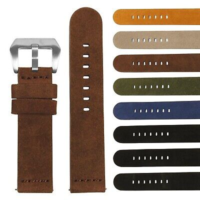 StrapsCo Suede Heavy Duty Thick Leather Watch Band - Quick Release Strap