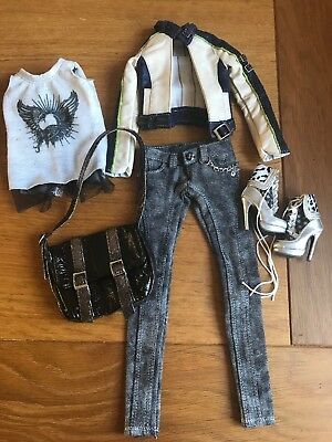"""Ficon 16"""" Doll Outfit Jeans Top And Boots Bag And Jacket Biker Chic Vgc"""