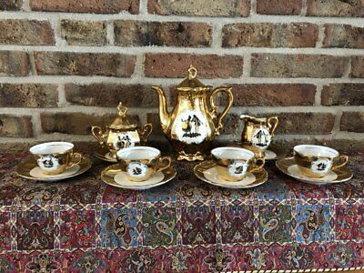 Antique Bavaria Schaller wiesau Tea Set, gold plated, hand painting, around 1950