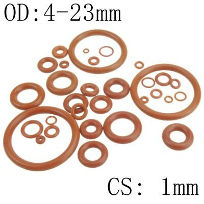 50pcs 1mm Thickness Silicon Rubber 4-23mm OD Red Heat Resistance O Ring