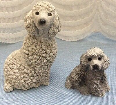 Two Poodle Figurines ~Tara Gift Sculpture & Living Stone~ Vintage 1980's