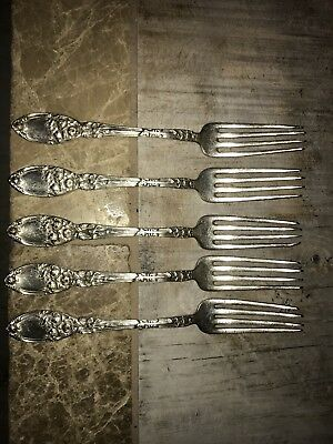 Lot of 5 Matching Vintage alvin patent forks Brides Bouquet Pattern