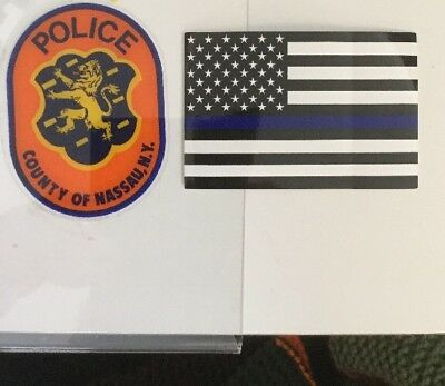 Nassau County Police InWindshield *Authentic Decal +1Flag Bl Line Skr *Others