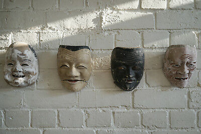 RARE Japanese Antique Noh Mask Collective from Edo Period Wabisabi Old