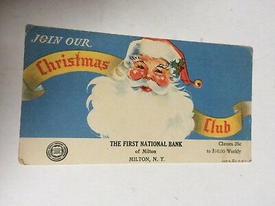 Vintage Ink Blotter, First National Bank of Milton NY, Christmas, Advertising
