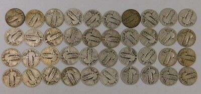 Roll Lot of 40 Silver Standing Liberty Quarters All Full Dates, Some Mint Marks