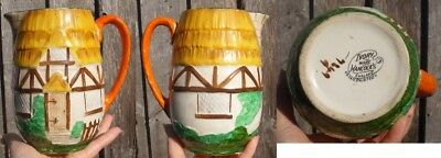 Ivory Ware Hancocks England Vase Hand Painted Thatched Cottage Look
