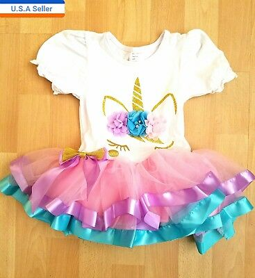 Unicorn Baby Girls Birthday Party Outfit Dress 1year To 3year