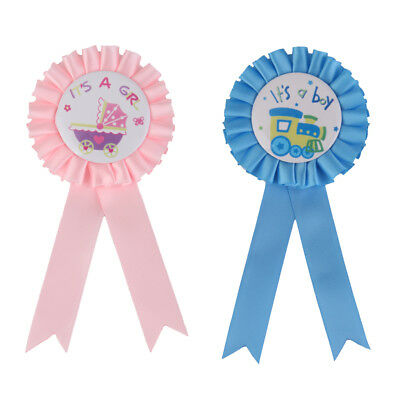 2pcs Set Blue Pink It is a Girl Boy Badge Rosette Baby Shower Accessories