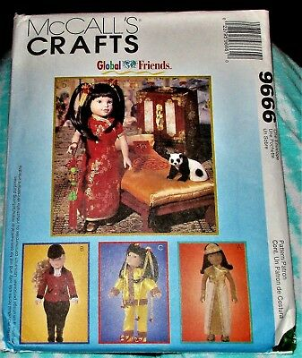 "UNCUT '98 McCall's ""Global Friends"" Doll Clothes Pattern Sz 14-18"" American Girl"