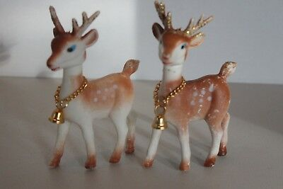 Vintage Pair (2) Soft Plastic Christmas Reindeer Made In Hong Kong