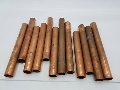 "2lb+ 12Pc Copper 3/4"" Pipe Tube Wrot Metal Material Craft Art Recovery Plumbing"