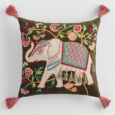 Elephant Embroidered Throw Pillow by World Market