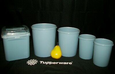 Tupperware 4 BLUE Decorator Canister 5 12 17cups Servalier Seals 1 Easy Open BBD