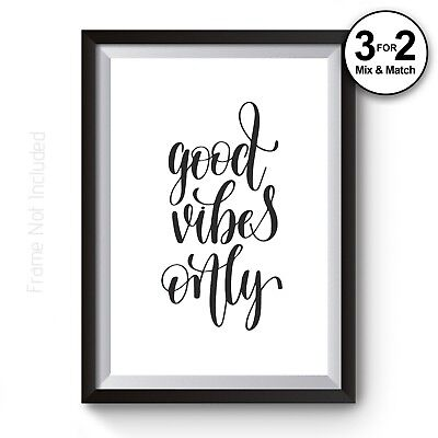 Good Vibes Only Quote Giclee Art Print, Good Life Motivational Minimalist