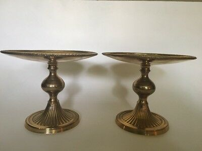 Lot of 2 Vintage Brass Large Pillar Candle Holders