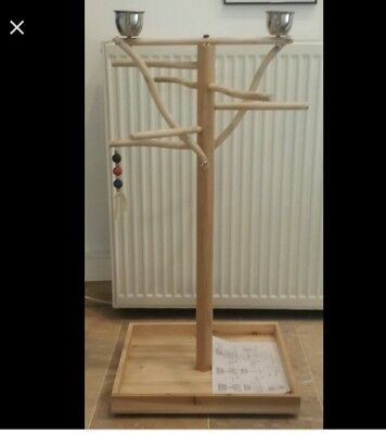 New Boxed Wooden Bird and Parrot Play Stand