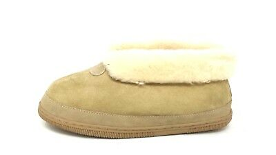 NEW! Unisex Fur-Lined Leather Ankle slipper - Natural 191G pm