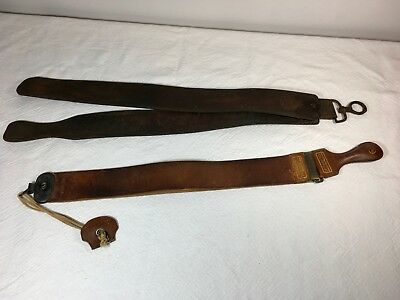 Lot of 2 Vintage Razor Strops, Leather Straps for Sharpening, Torrey, Russia