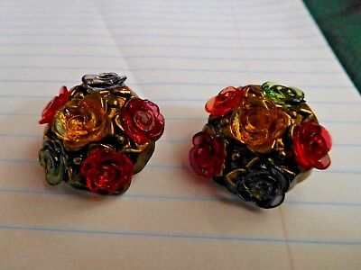 Buttons vintage ornate plastic roses red, gold, purple hex shape only 2