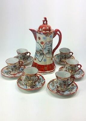 Vintage Kutani Chocolate Coffee Pot Set. Red Geisha with gold design porcelain