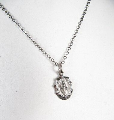 """Vintage Sterling Silver Child's Necklace Tiny Miraculous Medal 12"""" Chain Vtg"""