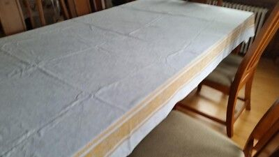 Vintage large white tablecloth with Gold border