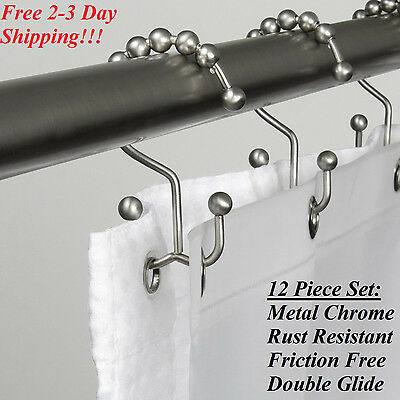 Shower Curtain Rings Chrome 12 Pc Hooks Set Double Glide Bathroom Metal Roller