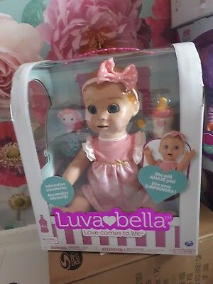 BNIB LUVABELLA Blonde Hair Interactive Baby Girl Doll w/Realistic Movement