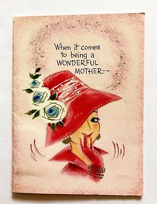 Vintage Pink Hallmark Birthday Card Pretty Girl Dress Hat Sliver