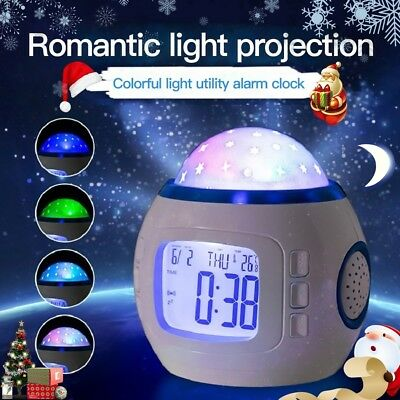 NIGHT LIGHT PROJECTOR Lamp Bedroom Alarm Clock With Music ...