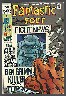 FANTASTIC FOUR #92 Stan Lee Jack Kirby THE THING Ben Grimm, Killer TORGO
