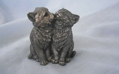 Small Resin  Filled Silver Figure Of 2 Cats.