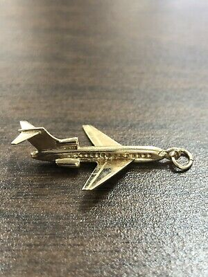Gorgeous 14KT 585 Yellow Gold Detailed 3 D Airplane Pendant Charm