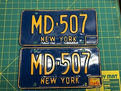 Matching Pair of 1966 New York License Plate MD-507