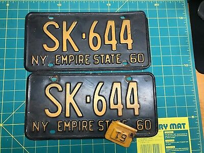 Matching Pair of 1960 New York License Plate SK-644