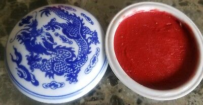 Porcelain Dragon Compact Seal Chop/Stamp, for hanko, Paste, red