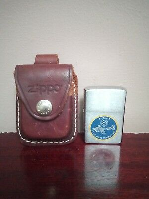 Vintage Zippo Lighter And Leather Case Rare Airplane Sally B Wwii u.s.a.a.f 1980