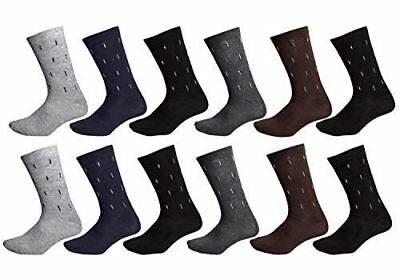 Peach Couture 12 Pack Multi color Patterned Mens Dress Crew Socks
