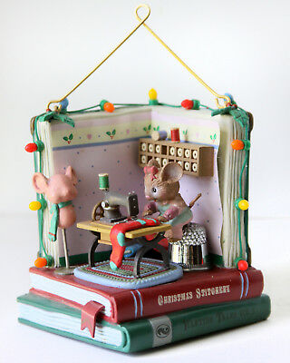 Vtg Enesco Sew Christmasy Ornament Mouse Machine Room Thimble Mannequin Book