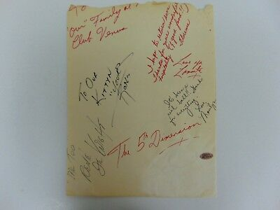"""VERY RARE! """"Up, Up and Away"""" The 5th Dimension Group Signed Album Page PAAS COA"""