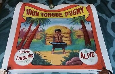 Circus Sideshow Iron Tongue Pygmy Banner Poster Print Strongest Midget