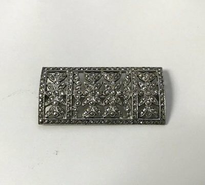 Antique 1900s edwardian victorian sterling silver & marcasite floral brooch MINT