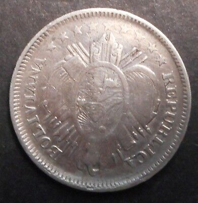 Bolivia  1894  20 Centavos Silver  Coin  Good detail