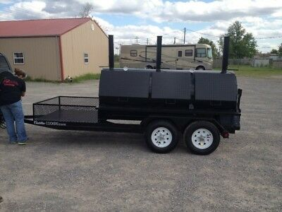 Rotisserie BBQ Grill, Smoker, Cooker on 16 Foot Trailer