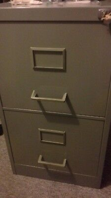 Used Harvey Two Drawer Grey Metal  Filing Cabinet. Lockable with 2 Keys.
