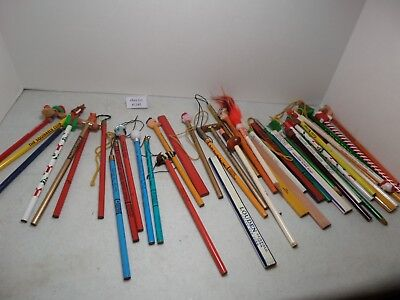 (Lot #1142) Vintage Wood Pencils Lot of 20 Some with Toppers