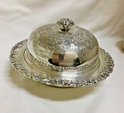 Ellis Barker Silverplate Covered Serving Dish w Insert, Grape & Floral Motif, UK